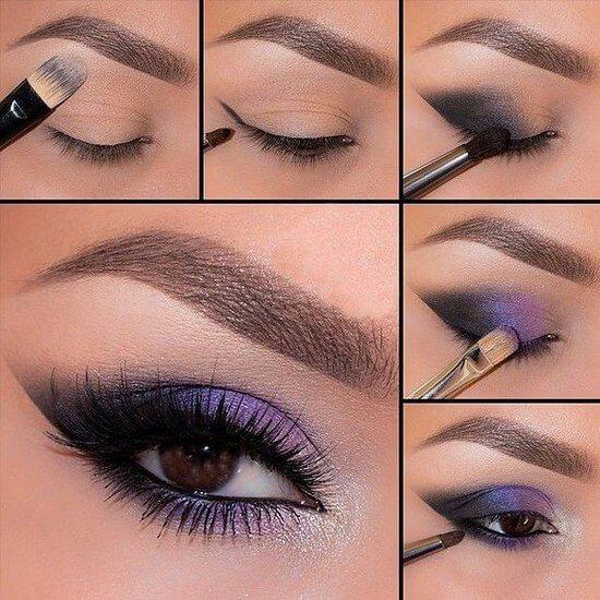 макияж для карих глаз вечерний пошаговое фото