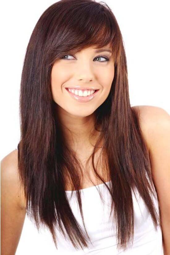 Чёлка для круглого лица на длинные волосы