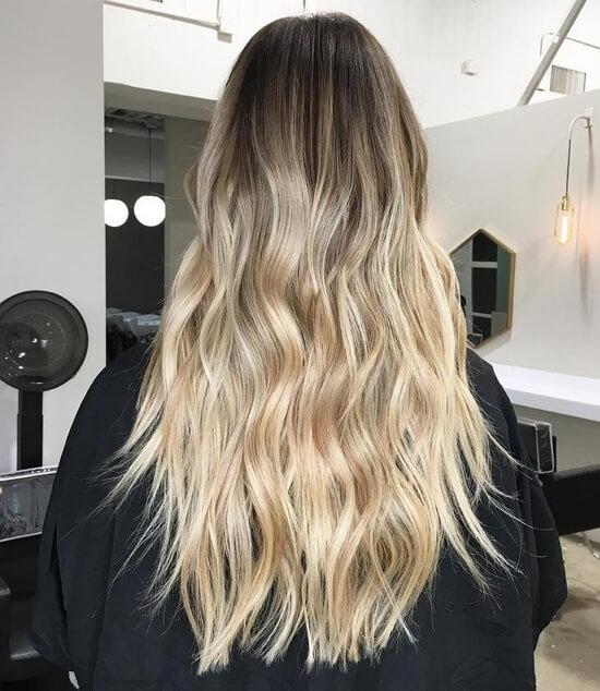 Балаяж на русые волосы длинные