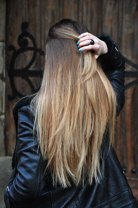 Шатуш на тёмные волосы длинные
