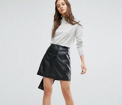 С чем носить кожаную юбку трапецию