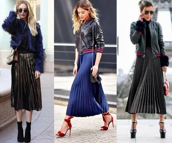С чем носить плиссированную юбку ниже колена