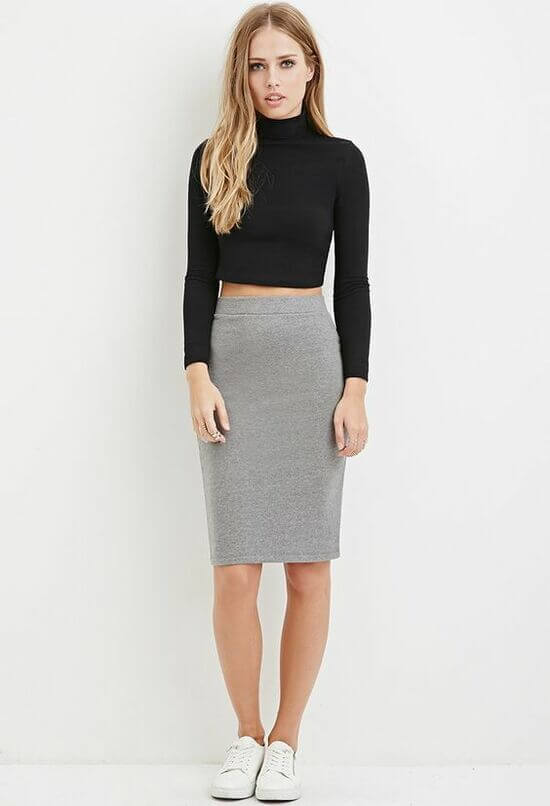 Серая юбка с чем носить